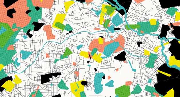 Grafische Collage einer angedeuteten Stadtkarte mit diversen bunten Markierungen