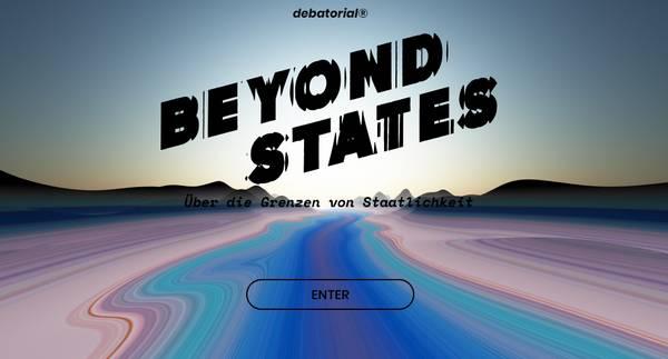 """Schriftzug """"Beyond States"""" vor stilisierter Landschaft, darunter eine Schaltfläche mit """"Enter"""""""