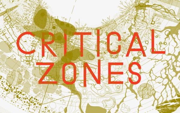 """Roter Schriftzug """"Critical Zones"""" vor verfremdeten geografischen Mustern"""