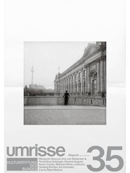 "Cover of magazine 35 with inscription ""outlines"" and black and white photo of Berlin architecture"