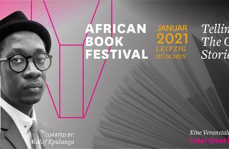"""rechts Porträt von schwarzem Mann, links aufgeschlagenes Buch, im Vordergrund Textinformationen zum """"African Book Festival"""""""