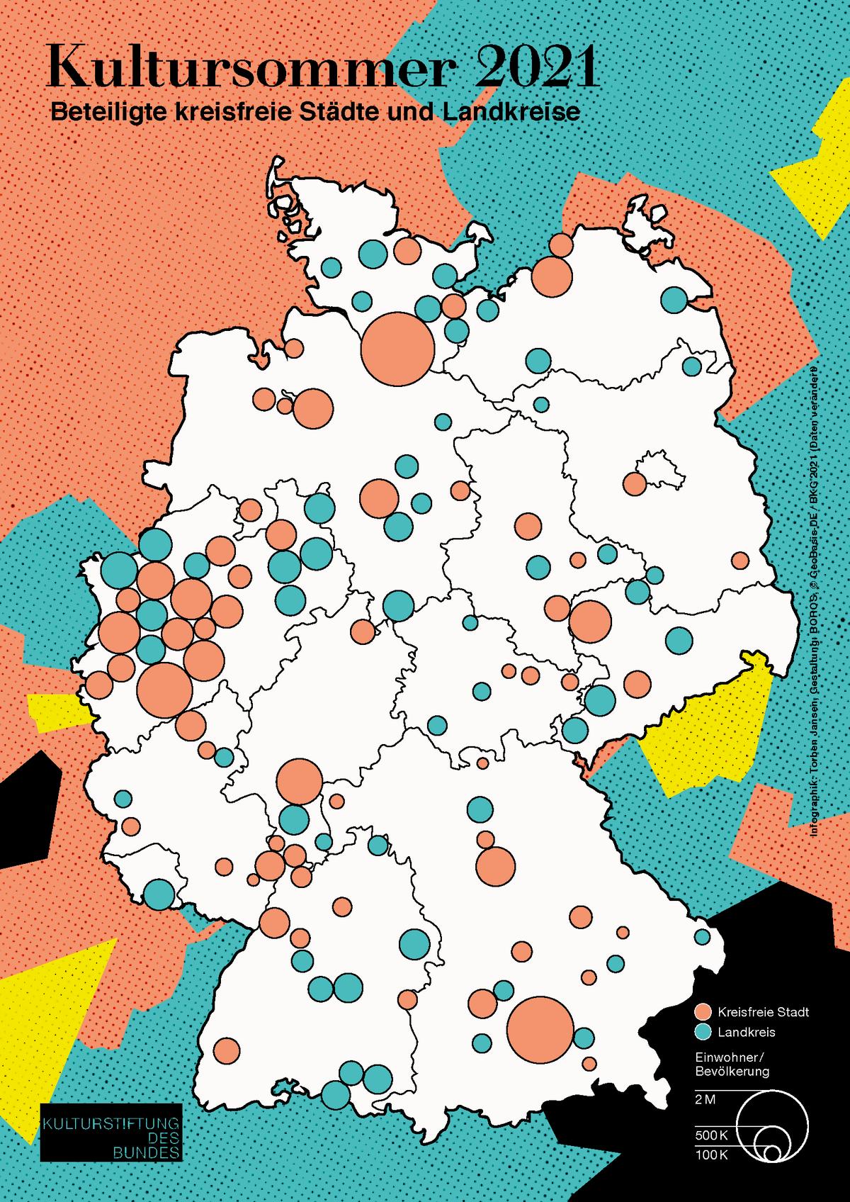 Deutschlandkarte mit Markierung beteiligter kreisfreier Städte und Landkreise beim Kultursommer 2021