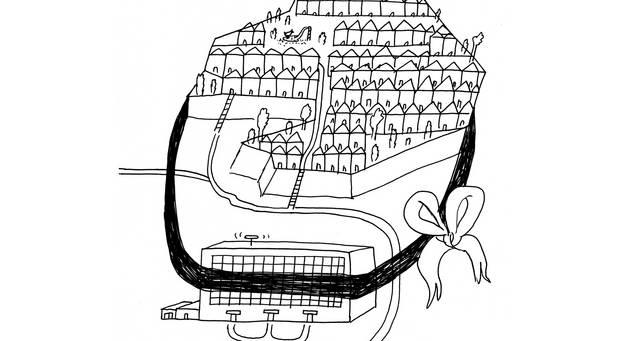 Schwarz-Weiß-Zeichnung: Von einem Geschenkband umschlossene Stadt