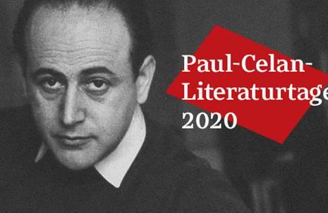 """Schwarzweiß-Fotografie vom Gesicht eines Mannes, rechts die Aufschrift """"Paul-Celan-Literaturtage 2020"""""""