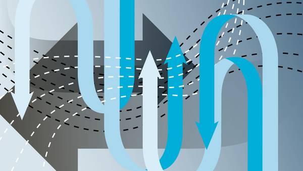 Illustration mit blauen Pfeilen, die Nachhaltigkeit andeuten soll