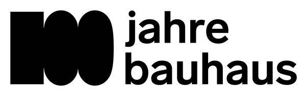 """Logo mit Aufschrift """"100 jahre bauhaus"""""""