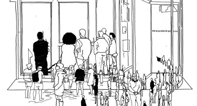Schwarz-Weiß-Illustration von einer Menschenmenge vor einem Gebäude