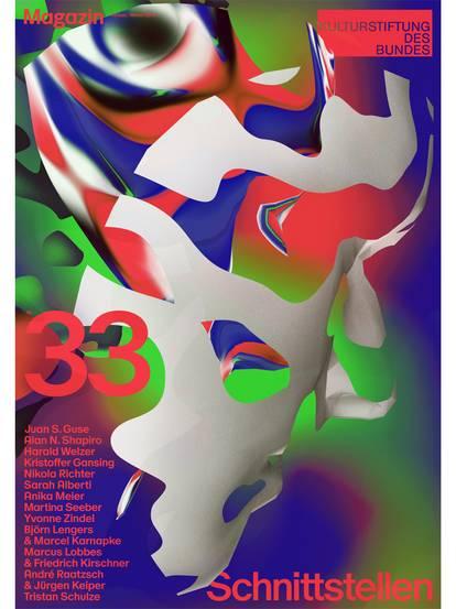 """Titelbild von Magazin 33 mit Schriftzug """"Schnittstellen"""" und abstrakten bunten Mustern"""