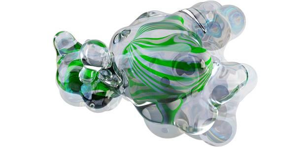 Wabernde durchsichtige Blase mit grünen Schlieren