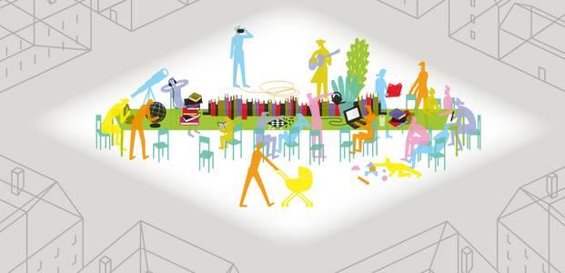 Die Illustration zeigt einen Tisch mit Büchern, einem Globus, Pflanzen und anderen Gegenständen. An dem Tisch sitzen viele verschiedene Menschen, die lesen, miteinander spielen und reden, Musik hören, an einem Computer arbeiten.
