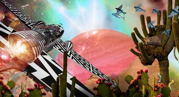 Skurrile Collage mit Planet, Flugobjekt, Kakteen, fliegenden Fischen und weiteren bizarren Elementen