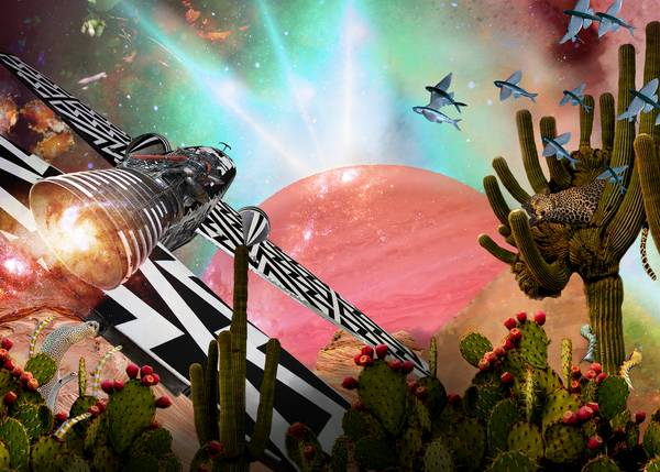 Collage mit Planet, Flugobjekt, Kakteen, fliegenden Fischen und weiteren skurrilen Elementen