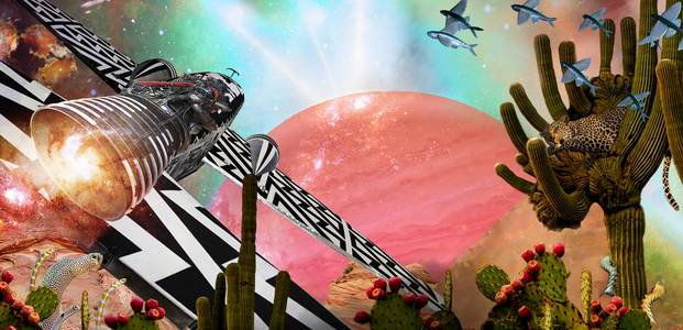 Collage with planet, flying object, cacti, flying fish and other bizarre elements