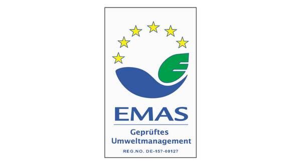 """EMAS-Logo mit Beschriftung """"EMAS Geprüftes Umweltmanagement"""""""