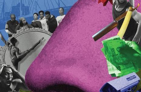 Bunte Collage, die u. a. diverse Personen und eine lilafarbene Nase in der Mitte zeigt
