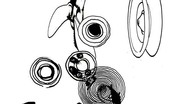 Schwarz-Weiß-Illustration von abstrakten Mustern
