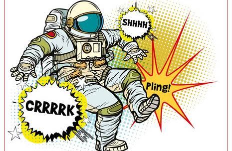 """Comic eines stolpernden Astronauten mit den Geräuschblasen """"Pling"""", """"Shhh"""", """"Crrk"""""""