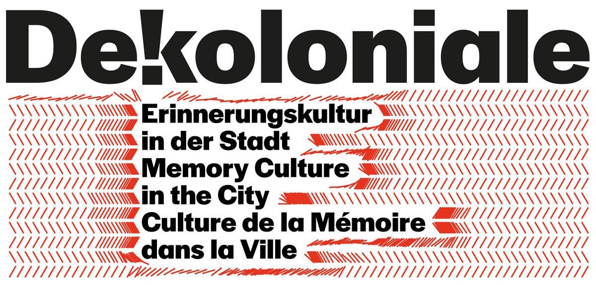 """Logo: """"Dekoloniale. Erinnerungskultur in der Stadt"""" und Übersetzungen auf Englisch und Französisch"""