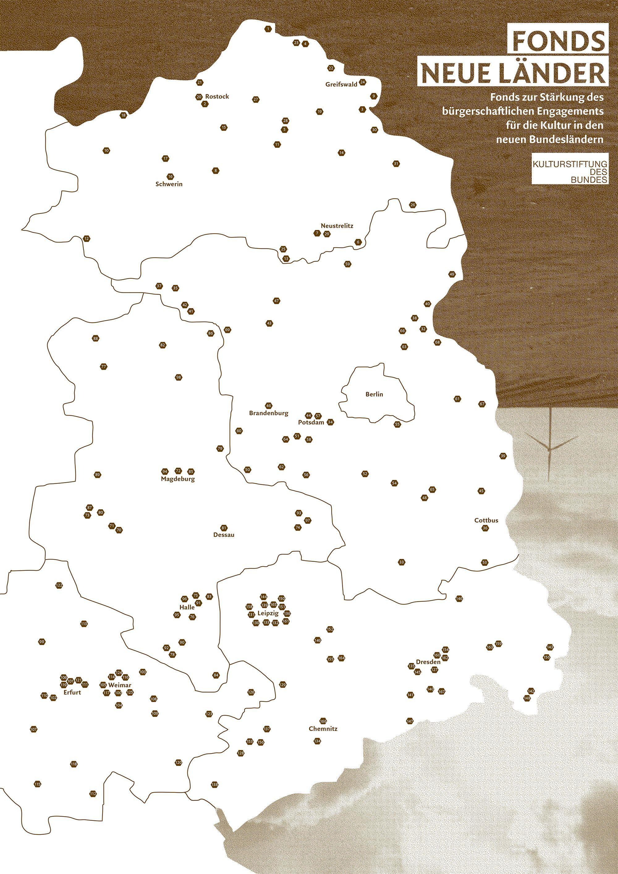 """Karte der neuen Bundesländer mit Hervorhebung diverser Städte und Schriftzug """"Fonds Neue Länder"""""""