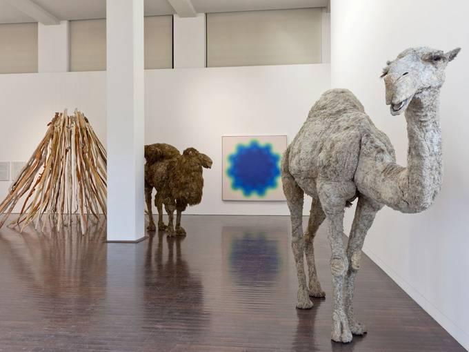 """Nancy Graves, Ausstellungsansicht """"Nie wieder störungsfrei"""", 2011, Foto: Carl Brunn"""