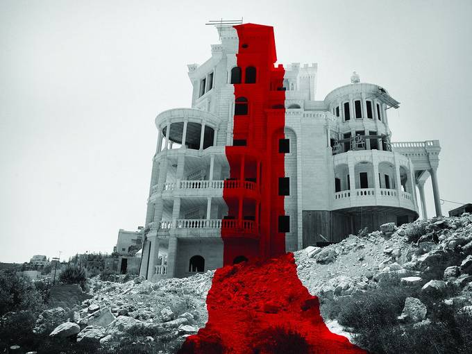 "DAAR (Decolonizing Architecture Art Residency), The Red Castle and the Lawless Line, the width of the line crossing the ""Red Castle"" in Battir, 2010 © DAAR/Amina Rech"