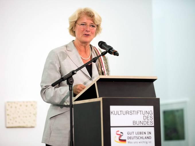 Kulturstaatsministerin Monika Grütters beim Bürgerdialog am 23. Juni 2015 in Halle (Saale) © Falk Wenzel