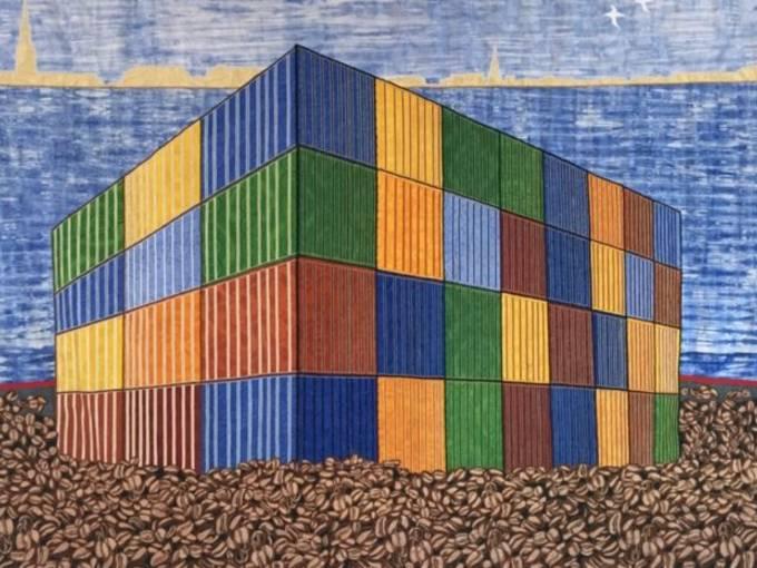Abdoulaye Konaté Coffee Beans – Container, 2015 Stoff, 345x249 © Abdoulaye Konaté