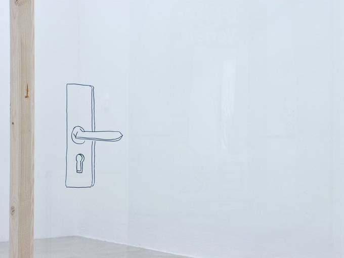 Judith Hopf, Untitled, 2011, Installation, (drawing on glass, wood), Dimensions variable