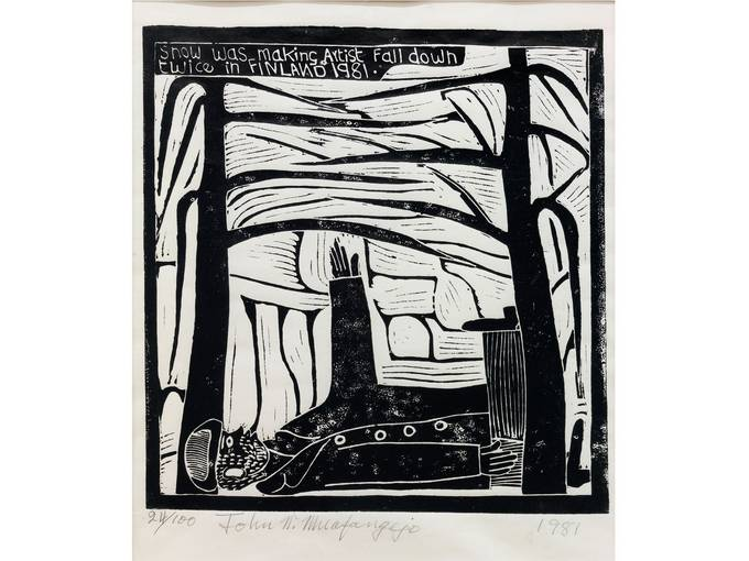 John Ndevasia Muafangejo, Snow was making Artist fall down twice in Finland 1981, 1981, Sammlung Weltkulturen Museum, Frankfurt am Main (Ausschnitt)