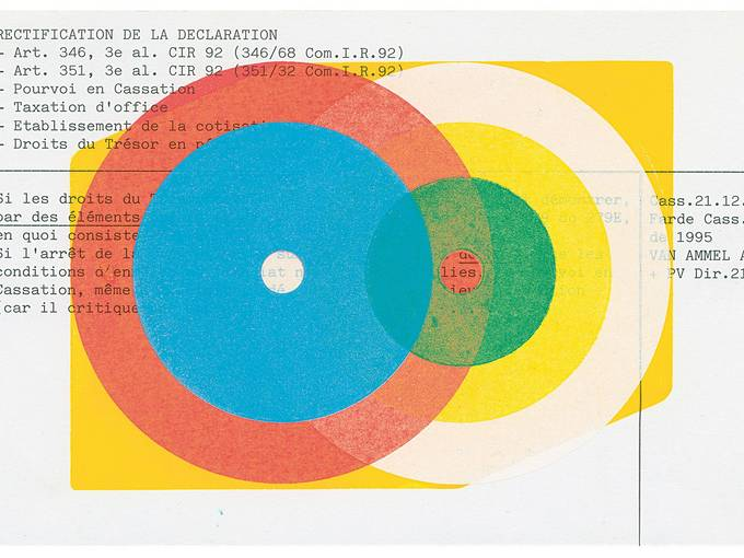 Karel Martens, Untitled, 2016, Letterpress monoprint on found card, 8 x 5 inches. Courtesy the artist and P!
