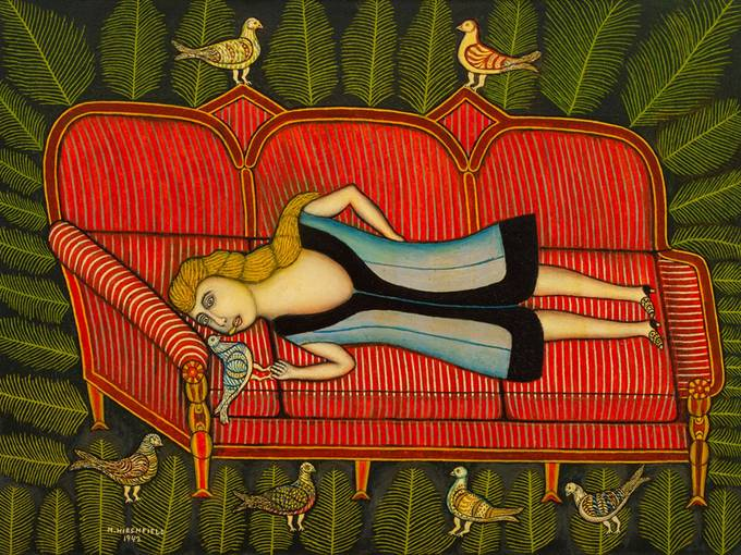 "Morris Hirshfield: ""Girl with Pigeons"" (1942) ""Mädchen mit Tauben"". Öl auf Leinwand, 76,1 x 101,7 cm The Sidney and Harriet Janis Collection, The Museum of Modern Art, New York © VG Bild-Kunst, Bonn 2015 © Foto: Photo SCALA, Florence, 2015"