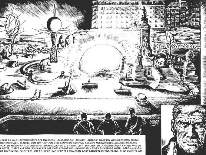 """Auszug aus dem Comic """"El Eternauta"""". Mit freundlicher Genehmigung der Rechteinhaber Martín Miguel Mórtola, Fernando Carlos Araldi und den Nachfahren von Francisco Solano"""